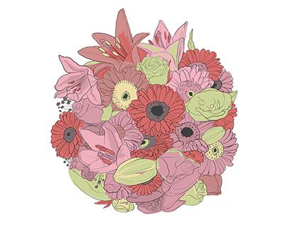 Hand drawn circular flower bouquets