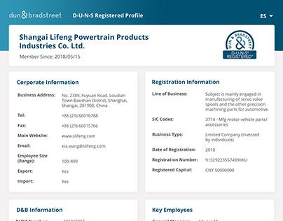 Re-design of DUNS Registered Profile