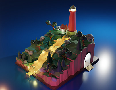 Isla del faro   Modelado 3D   Low poly