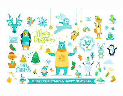 Merry Christmas and Happy New Year with Animals