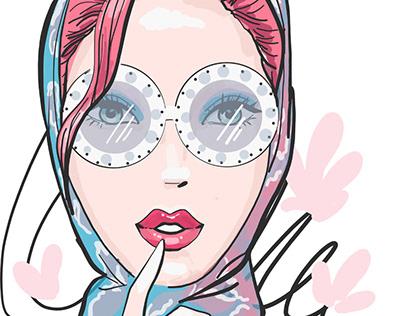 Glam beautiful woman in glasses. Fashion illustration
