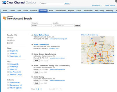 Salesforce, UI/UX new account search function