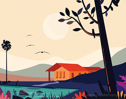 A dream before sunset - Creative Illustration