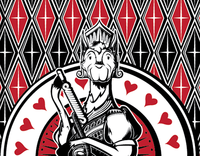 Llama Dynasty - llama nobles playing cards -  Hearts