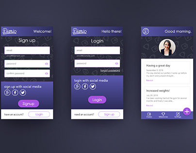 Diary app login and signup process
