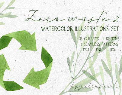 Zero waste 2. Watercolor illustrations set