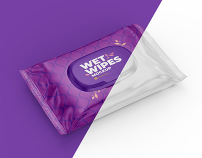 Wet Wipes Mockup. half side view