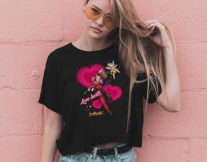 Harley Quinn Love Hurts T-Shirt Build