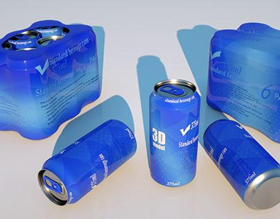Plastic shrinkwrap 6x375ml cans 3D model