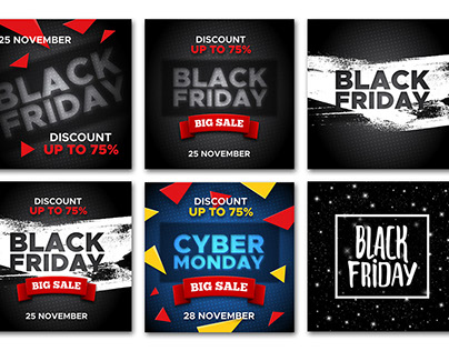 Black Friday and Cyber Monday Sale banners
