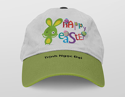 Happy Easter Rabbit and Egg illustration for Cap