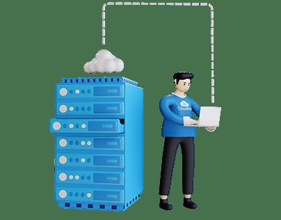 Setting Server 3D Illustration