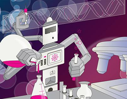Roboter im Genlabor, Grafik, Illustration