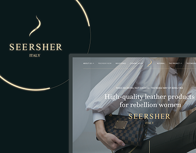 Landing page for Seersher - selling leather goods