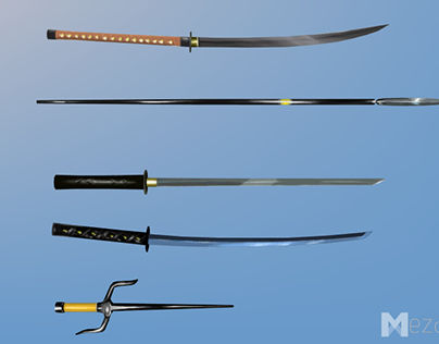 Hand Painted, Low poly Melee Weapons, Japanese