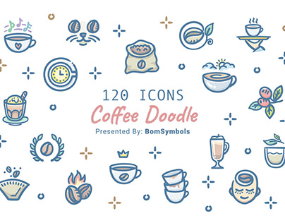 120 Coffee Doodle icons