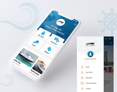 Yacht booking mobile app design
