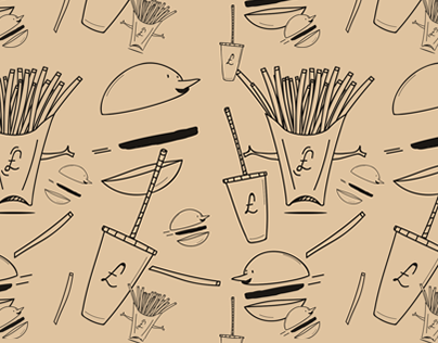 Burgers, fries, and fountain pop pattern no. 1