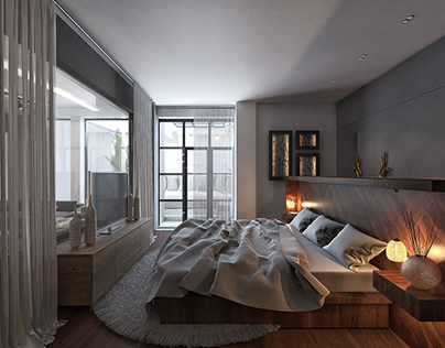 Industrial master bedroom design