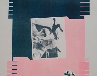 Riso print in flouro-pink and teal