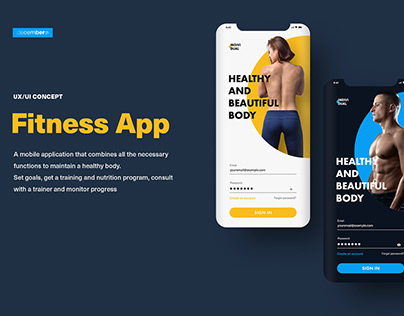 UI Kit Fitness App. White and Dark Theme (PSD Template)
