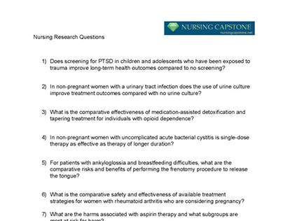 Sample nursing research questions