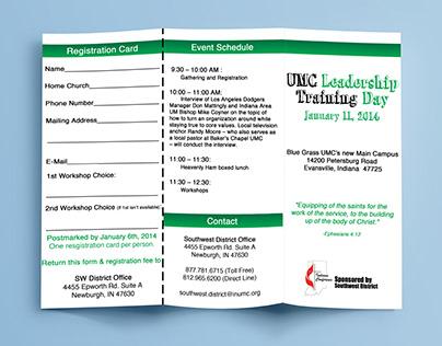 UMC Leadership training trifold brochure design