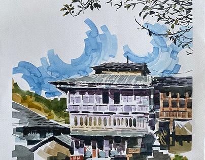 Himachal Pradesh- Watercolour sketches of Houses