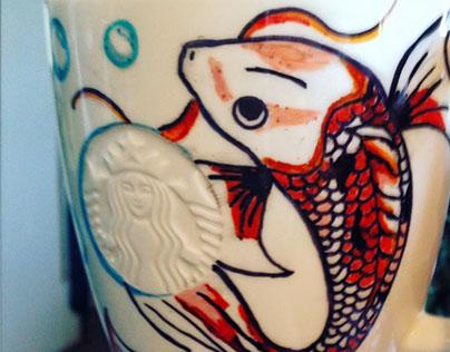 ilustración tazón y vaso Starbucks
