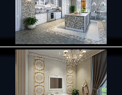 the development of interior design. Tiles Advertising