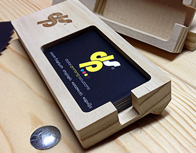 Wooden business card case.