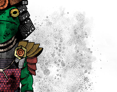 Samurai Frog Character Design Vector