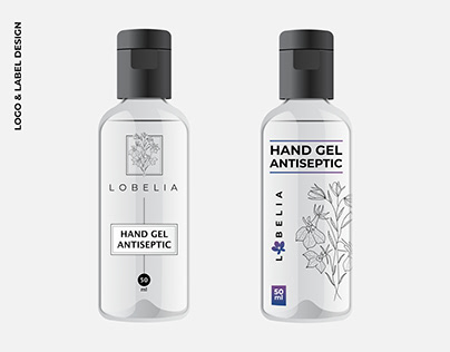 Logo and label design for hand gel antiseptic. Lobelia.