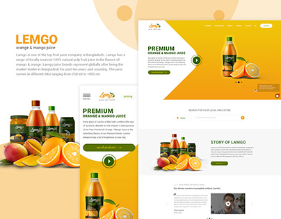 Landing page UI and UX design for Juice company