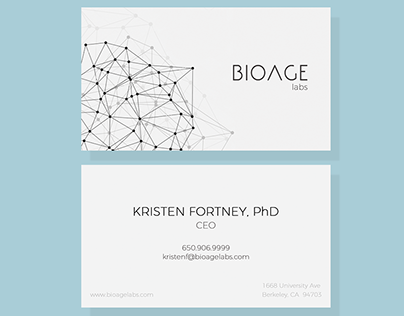 Business cards and logo for BIOAGE labs