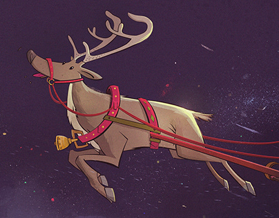 Christmas postcard illustration