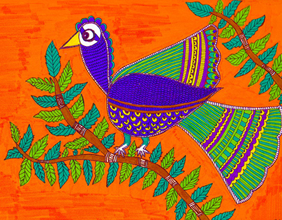 Madhubani Art - The Peacock