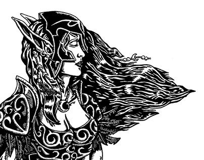 Night Elf huntress (WarCraft) | pen drawing | 2012