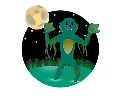 Ilustración Monstruos de películas