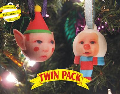 3D Printed Christmas Baubles, Elf & Snowman
