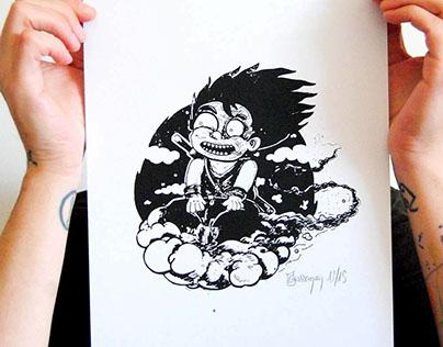 Serigraphie son goku affiche et bois