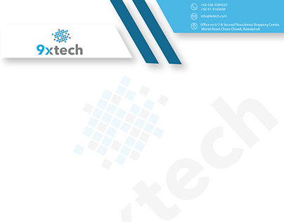 Letter pad design and Business card for 9xtech