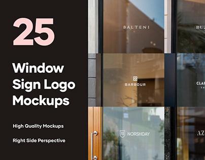 25 Window Signs Logo Mockups - V2 - PSD