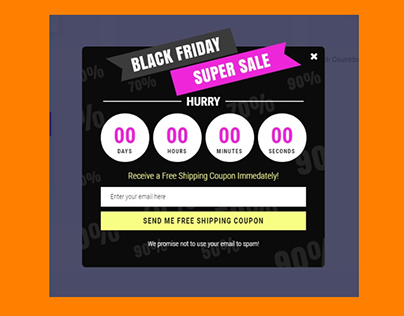 Countdown Popup for opening or closed events or sale