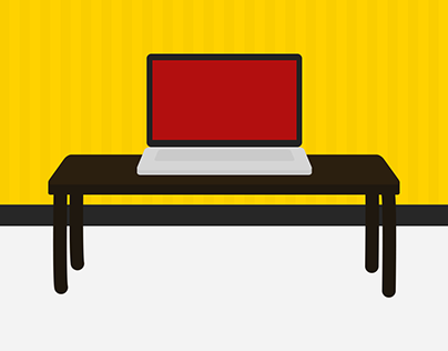 Laptop and table vector