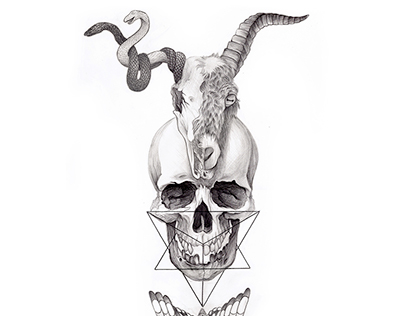 sketches  and skull tattoo