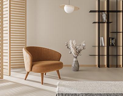 Metis armchair + Chaplin ceiling lamp