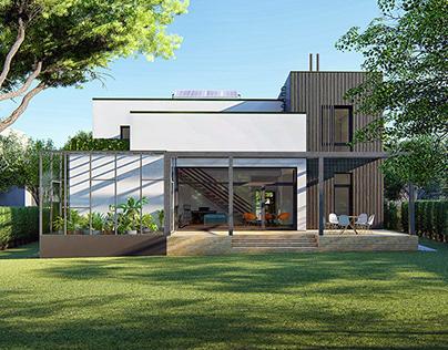 Four-terrace house