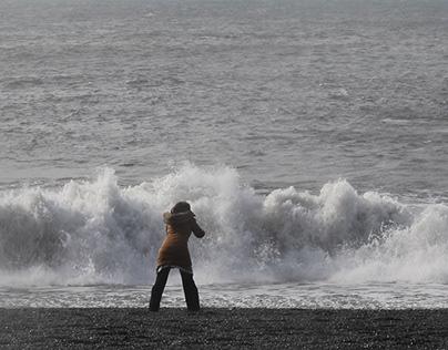 Woman Yelling at Waves