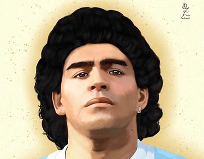 Maradona Oz Galeano Portrait Drawing